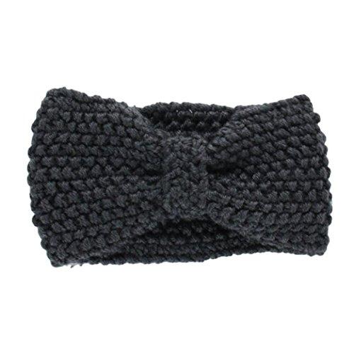 Hair Accessories, Kolylong® Accessoires Cheveux Hiver Crochet Flower Bow Tricoté Head Wrap Oreille Bandeau De Cheveux Warmer (Gris)