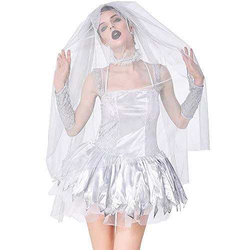 Adult Halloween Kostüm, Female Cosplay Kostüm, Silver Ghost Bridal Set Inklusive Schleier + Kragen + Handschuhe für Halloween Party/Adult Role Playing/Theme Party,XL (Silver Ghost Kostüm)