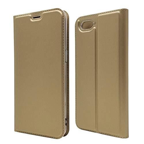 Custodia® Ultra Schlank PU TPU Flip Folio Hülle mit Kartensteckplatz und Standfunktion für Oppo R15 Neo(Gold)
