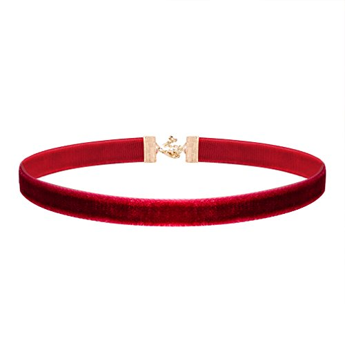 Jane Stone Damen Halskette Choker Kropfband burgunderrot bordeaux rot Velvet Samt Klassik Oktoberfest Dirndl Trachten Halsband dünne enge anliegende Jocker Kette für junge Frau und Mädel