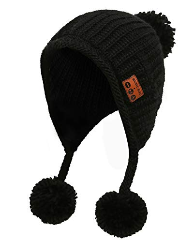 Udgwaz Drahtlose Bluetooth Gestrickte Beanie mit Fell-Bommel Magische Hut Smart Cap Ski Mütze Beanie Cap Strick-Mütze (MZ036_Schwarz) -