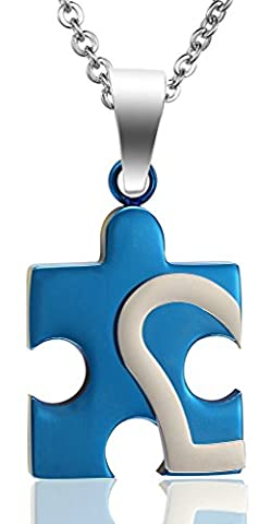 Women Love Autism Awareness Puzzle Convex Heart Stainless Steel Pendant Necklace Blue Aooaz Jewelry
