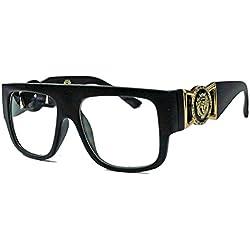 GIANNI MEDUSA Retro Sonnenbrille o. Nerdbrille Old School Flat Top Modell FARBWAHL GV (Klarglas : Schwarz glänzend)