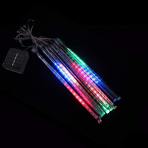 LED Meteor Dusche Solar Lichter Garten, Loxmy Wasserdicht Mehrfarbig Freien Dekoratives Licht Urlaub Licht Lichterketten mit Tubes für Urlaub Party Hochzeit Weihnachtsbaum (Roter Pool Tube)