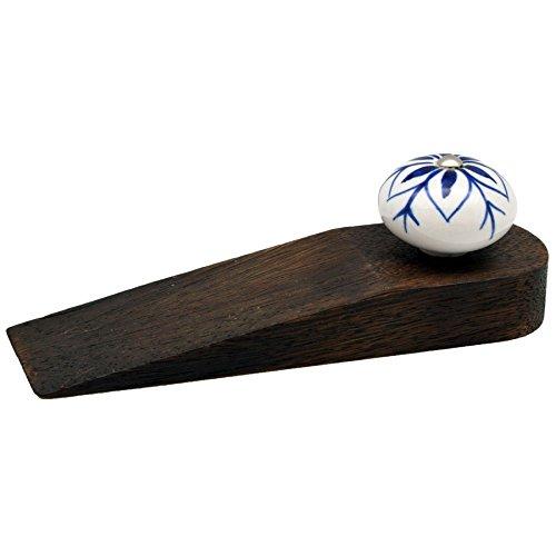 Cale porte en bois - style traditionnel/vintage - motif bleu