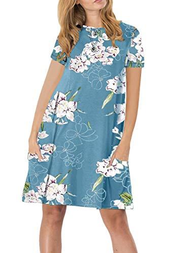 YMING Damen Frühling Herbst Kleid Casual Kurzarm Kleid Rundhals Basic Blusenkeid Plus Größe,Blau Blumen,XXXXL/DE 50-52 -