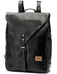 Retro PU-Leder Vintage Rucksack Wanderrucksack Hiking Backpack Damen Herren Schultertasche PU Rucksack Für Camping Reise und iPhone, iPad und Samsung Tablet drei Farbe
