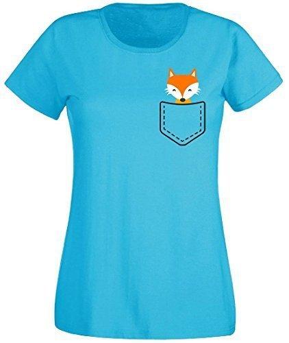 Damen T-Shirt Damenshirt Pocket Animal Fuchs Mehrfarbig
