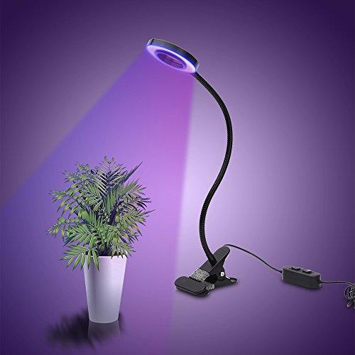 LONGKO 18 LED Pflanzenlampe 10W Pflanzenlicht Washstumlampe 3 Modi Tisch Pflanzlicht mit 360¡ã Flexiblen Schwananhals für Zimmerpflanzen Gewächshaus Garten