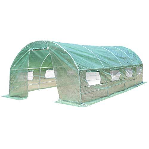 COSTWAY Gewächshaus mit Metallrahmen Foliengewächshaus Treibhaus Tomatenhaus Pflanzenhaus Folienhaus Folientunnel Folienzelt PE-Gitterfolie grün Modellauswahl
