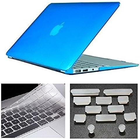 HYAIT 3in 1Ultra Sottile Cristallo Hard Case + tastiera copertura + Anti-Dust Plugs per Apple Macbook Air da 11.6A1370e A1465, colore: azzurro