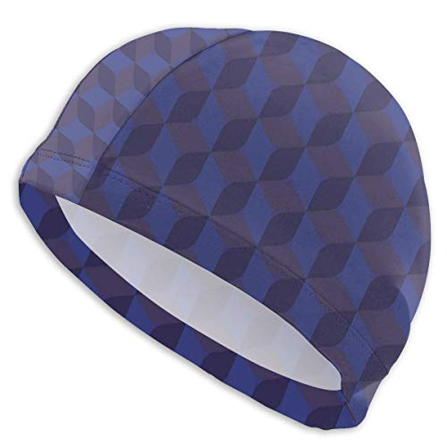 GUUi Swimming Cap Elastic Swimming Hat Diving Caps,3D Print Like Geometrical Futuristic Inspired Shadow Boxes Cubes Image Print,for Men Women Youths Chicken Music Box