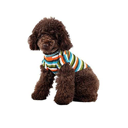 T.boys\'s Haustier Sommershirt für Katze Hunde Streifen T-Shirt Super süße Welpen Weste Dog Shirt weiches Sweatshirt ärmelloses Kostüm für kleine Katze (Multicolor, L)