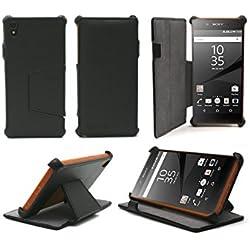 Etui luxe Sony Xperia Z5 5.2 pouces Ultra Slim Cuir Style avec stand - Housse coque de protection Sony Xperia Z5 noire (nouveau smartphone 2015/2016) - Prix découverte accessoires pochette Flip Cover XEPTIO : Exceptional case !
