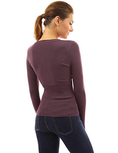 PattyBoutik Damen U-Ausschnitt Pullover mit langen Ärmeln und Nieten Pflaume