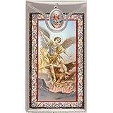 Colgante Medalla San Miguel Y Plegaria Católico Color Metal Plateado 2,5 cm