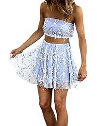 Blansdi Damen Elegant Partykleid Trägerlos Pailletten Quaste Strandkleid  Zweiteiler Kleider Sets Crop Tops A-linie… 2f44acf0bd