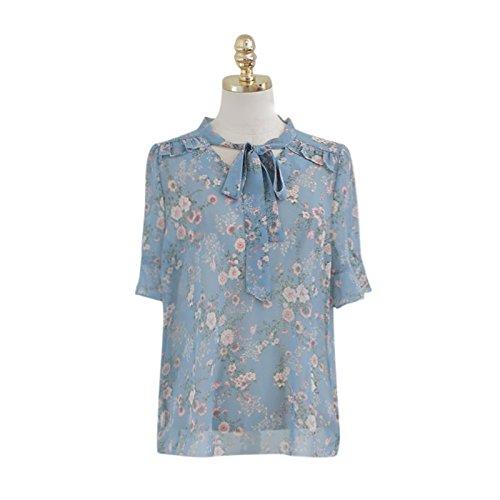 XXIN El Picador Tomar Short-Sleeved T-Shirts Mujer Camisa De Manga Bocina con Pajarita Y Camisa Azul Claro,L,