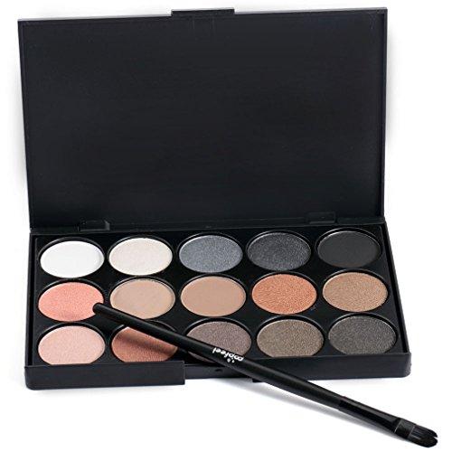 Pure Vie Pro 1 Stück Make Up Pinselset mit 15 Farben Lidschatten Palette Makeup Kit - Ideal für...