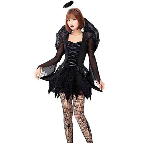 Engel Kostüm Mesh - QWE Halloween Kostüm Cosplay Erwachsenen Engel und Dämon Kostüm schwarzer Engel Mesh Kleid mit Flügeln