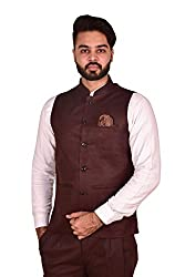 Wearza Mens Coffee Woven Cotton Blend Sleevless Rounded Bottom Nehru and Modi Jacket Ethnic Style For Party Wear, Sizes S-XXXL