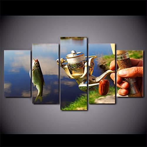 Lienzo Decoración para el hogar Marco de la pinturaCaña de pescar Fotos HD Prints 5 Unidades Pescado Pesca Cartel Sala de Arte de La ParedSin Marco 40x60 40x80 40x100cm