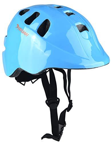 Kinder Fahrradhelm Erwachsener Fahrrad Helm Sturzhelm Reithelm Road Mountainbike Helm mit LED Lampe Rosa Blau und Weiss XS (48-52cm) Y-18 (Blau)