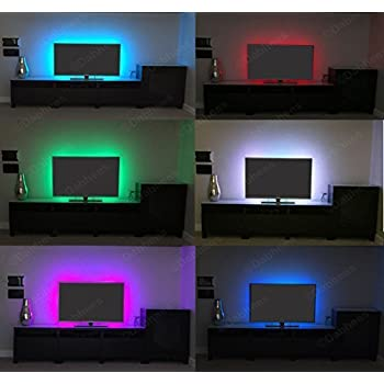 Dabhees 4 x 500mm Colour changing LED mood light LED TV Background Lighting Kit with IR Remote control LED strips **30 POWERFUL 5050 SMD ON EACH 50CM STRIPS**