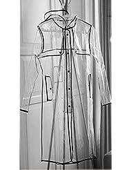 INMOZATA - Chubasquero con capucha largo para muer, transparente, talla 8A 14, color negro, tamaño largo