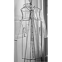INMOZATA transparente de la mujer largo con capucha chubasquero, talla 8A 14, color negro, tamaño