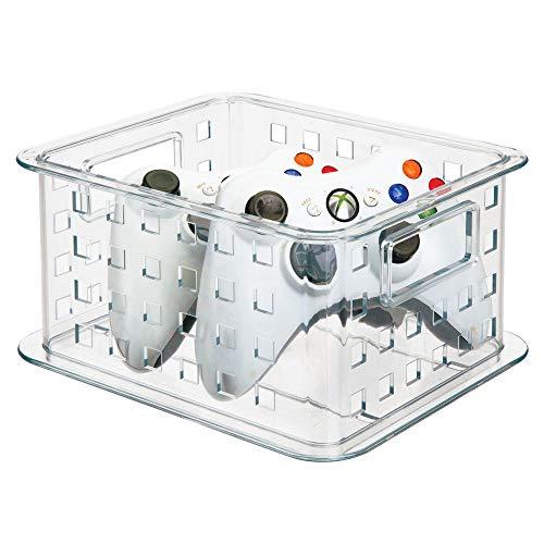 Stapelbar Dvd (mDesign stapelbare DVD Aufbewahrungsbox für DVDs -- auch für Videospiele, Blu Ray, Puzzle und Bausteine - klein/durchsichtig)