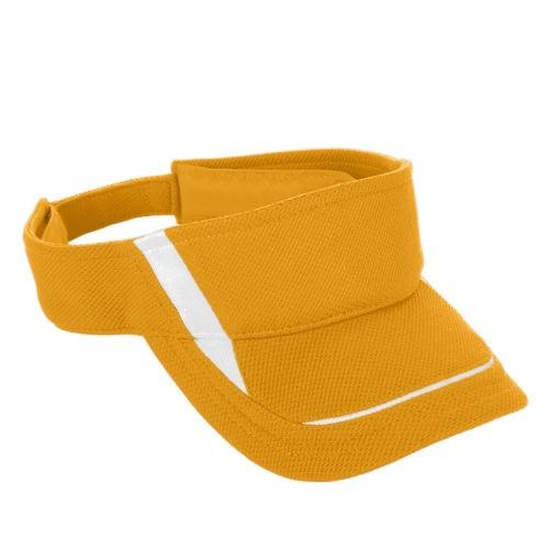 Adult Adjustable Wicking Mesh Edge Visor GOLD/ WHITE OS (Augusta-mesh-visor)