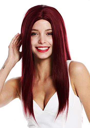 WIG ME UP  - YLYHT-002-RG-110 Parrucca donna Lunga Liscia Frangetta Riga in mezzo Rosso Bordeaux Rosso vino