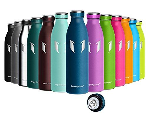 Super Sparrow Trinkflasche Edelstahl - 500ml & 750ml - Vakuumisolierte Wasserflasche - Doppelwand Trinkflaschen - BPA Frei | Ideale Sport Flasche für Fitness, Yoga, Trekking