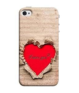 PrintVisa Designer Back Case Cover for Apple iPhone 4S (Love Is Life Together Felling Emotion Heart Brocken )