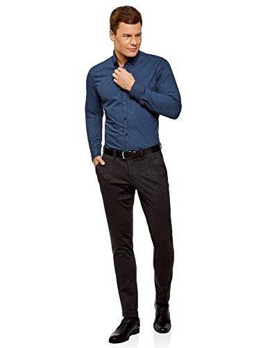 oodji Ultra Uomo Camicia Stampata con Colletto Doppio Blu (7975G)