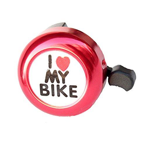 LEvifun Fahrradklingel Fahrrad Glocke I Love My Bike Radfahren Glocke Miniglocke Klingel Klingelton Bunt Wasserdicht (Rot)