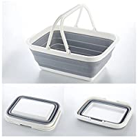 Multi-functional Large Foldable Shopping Basket,Collapsible Silicone Fruit Vegetables Hand Basket, Snacks Debris Collection Storage Holder, Clothes Toy Storage Basket - 38x28x15.5CM