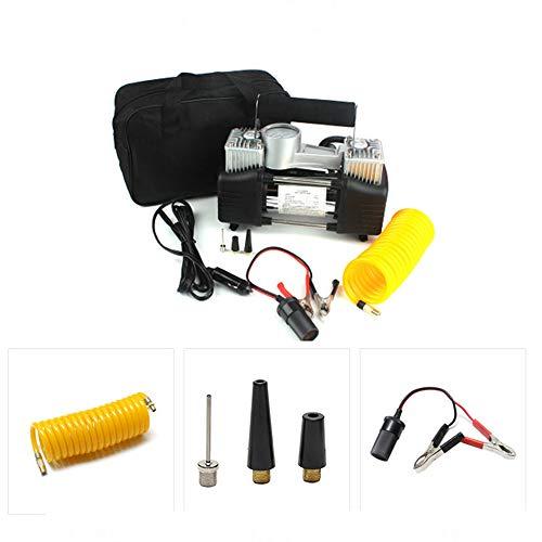 Gonfiatore per pneumatici Pompa per pneumatici con compressore d'aria a doppio cilindro a doppio effetto con 3 adattatori per auto, bici