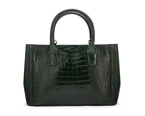 SAGEBROWN Green Croc Kate Bag