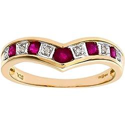 Naava - PR3026DIA+RUBY(T) - Anillo de mujer de oro amarillo (9k) con diamantes y rubís (talla: 21.5)