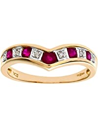 Naava 9ct Yellow Gold Ladies Diamond and Ruby Ring