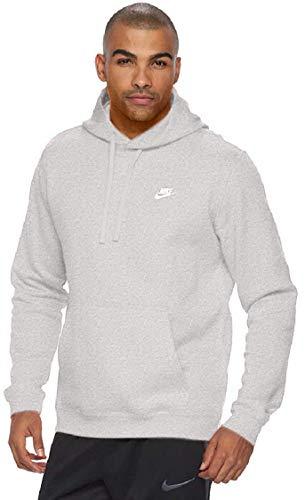 Nike Herren M Nsw Hoodie Po Flc Club Kapuzenpullover, Grau (Dark Grey Heather/Dark Grey Heather/White), L