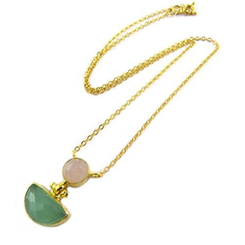 Les Trésors De Lily [P2292] - Vergoldet handgemachte halskette 'Princesse Ottomane' golden grün stieg.