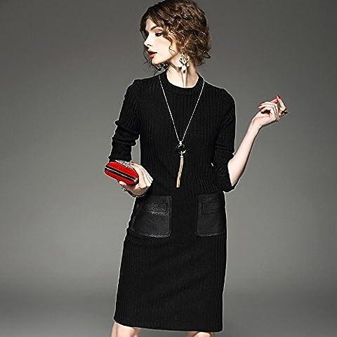 WZH Bodycon Jersey engrosamiento cuello de la mujer cadera tejer Vestido A-línea falda del paquete . black . l