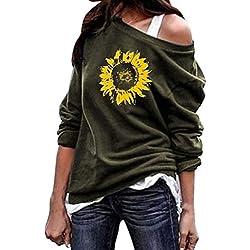 AG&T❀ Tunique Femme T-Shirt Chemise Élégant Vintage Manches 3/4 Chic Fleur Motif Imprimé Bouton Col Rond Plissé Casual en Vrac Longues Blouse Top