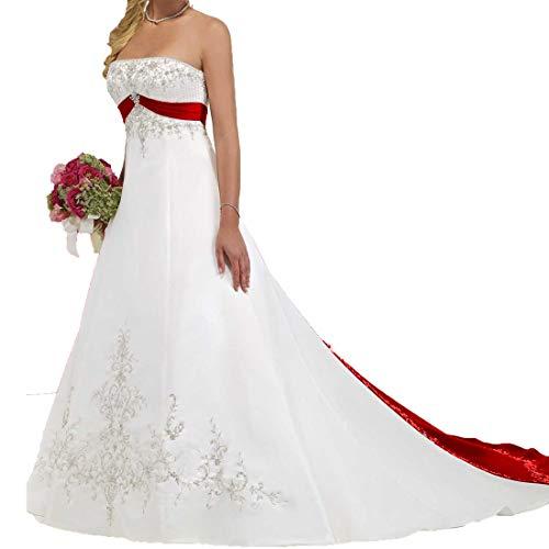 FairOnly Tr/ägerlos Wei/ß Rot Hochzeitskleid Brautkleid M56