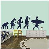 azutura Surfing Evolution Wandtattoo Surfbrett Wand Sticker Kinder Schlafzimmer Surf Wohnkultur verfügbar in 5 Größen und 25 Farben Extraklein Silber Metallic