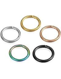 7de21dac0ae3 cupimatch 8 mm-12 mm Hombre Mujer Pendientes Piercing Nariz Titanio Anillo  Aro Colores (