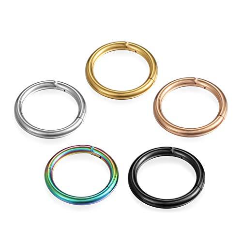 Cupimatch Unisex 5Pcs Nasenring Set Segmentring Nase Ring Nasenpiercing Ohrring Ohrstecker Damen Herren Titan 10mm, Gold Silber Schwarz
